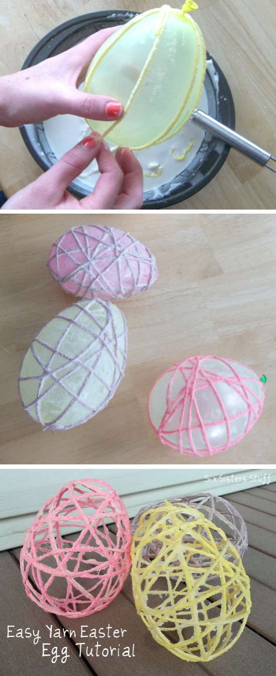 Yarn Easter Eggs, crafts, kids crafts, Easter crafts