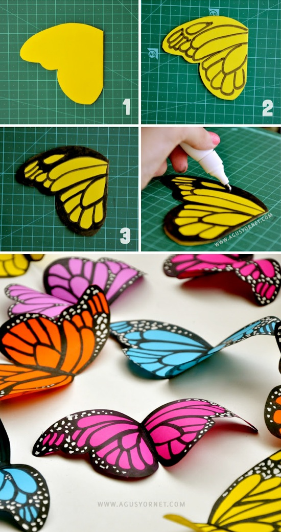 Diy paper butterflies for Butterflies for crafts and decoration