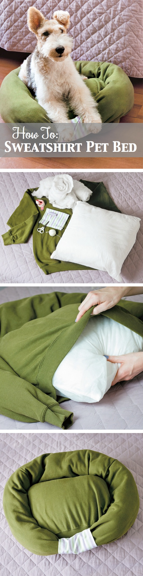 How to make a pet bed out of an old sweatshirt! | Craft By Photo