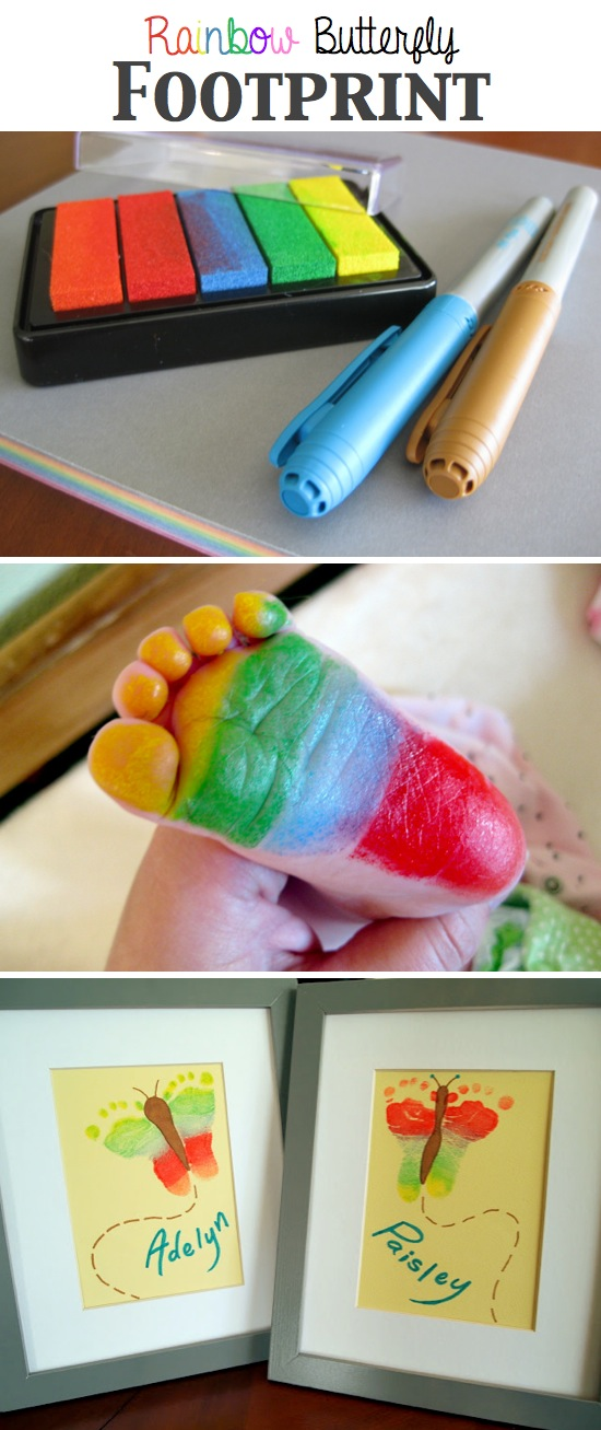 Rainbow Butterfly Footprint | Craft By Photo
