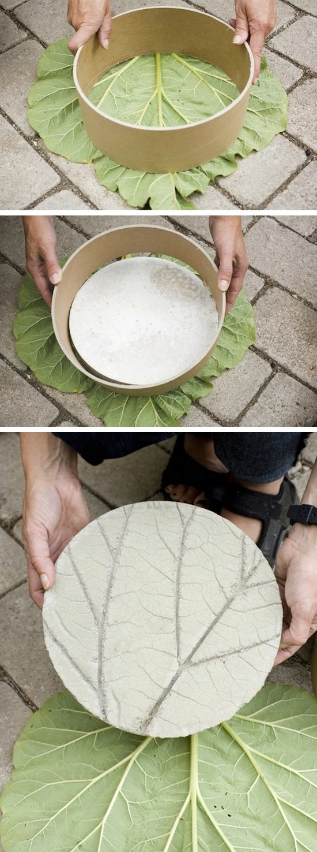 DIY Leaf Garden Stone
