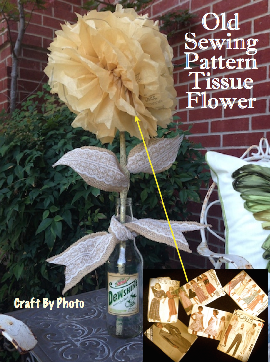 Old Sewing Pattern Tissue Flower