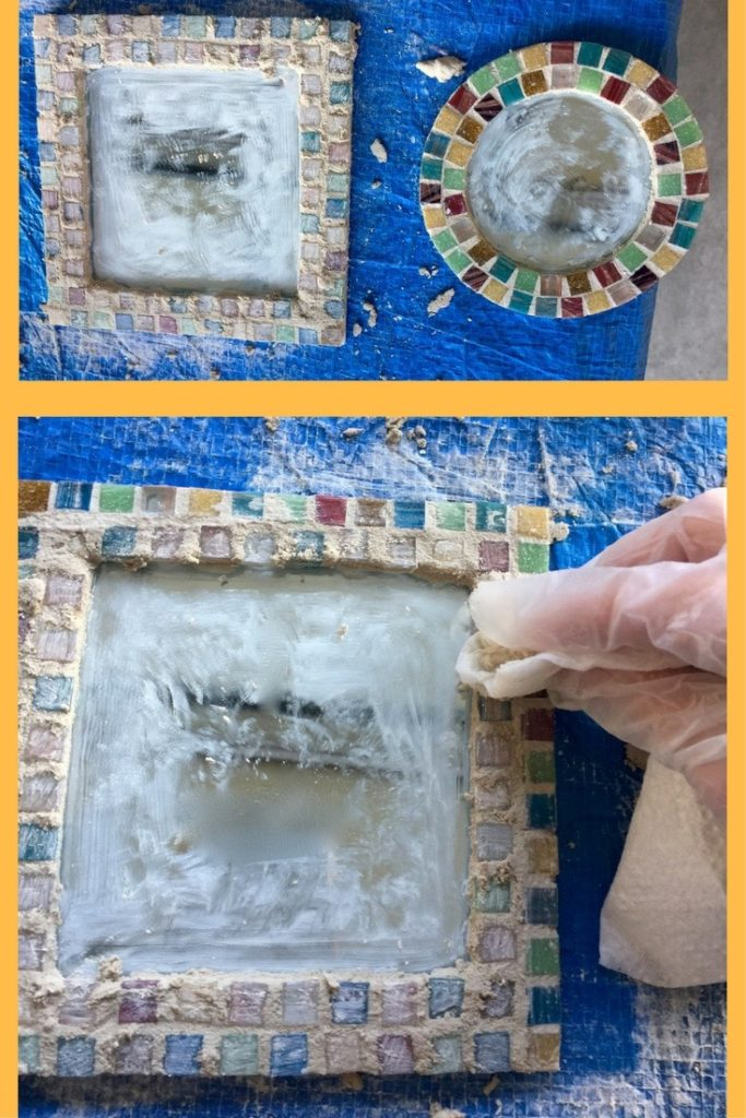 Photo of adding grout to the mirror and another photo of cleaning the tiles with a towel and water afterwards.